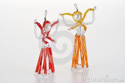 Hand beads Christmas angels