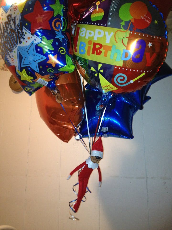 Elf on the Shelf: Elfie delivers birthday balloons