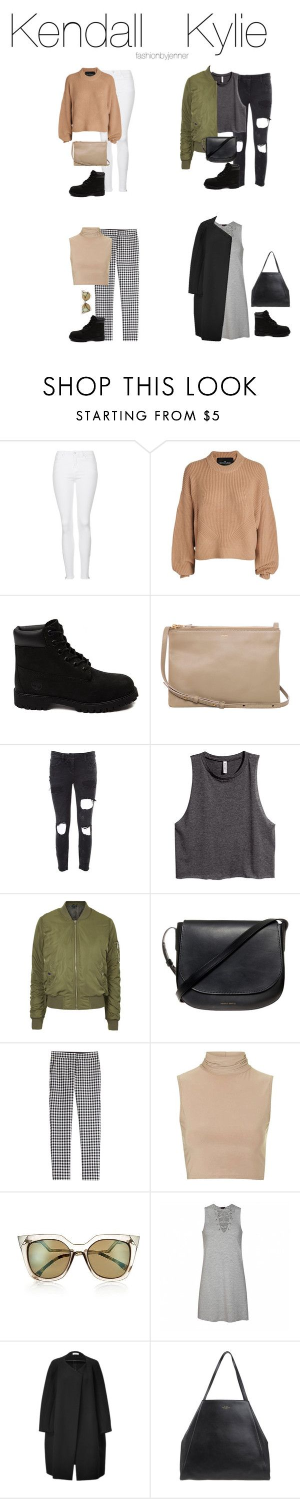 """""""Casual & elegant outfits ft black timberlands"""" by fashionbyjenner ❤ liked on Polyvore featuring Topshop, Designers Remix, Timberland, CÉLINE, Faith Connexion, H&M, Mansur Gavriel, Diane Von Furstenberg, Rare London and Fendi"""