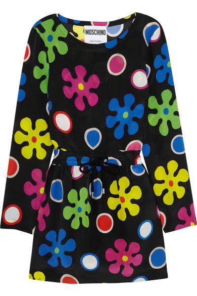 Moschino - Floral-print Silk Mini Dress - Black - IT42