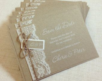 Rustikale Spitze Hochzeit Hochzeit von StunningStationery auf Etsy