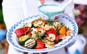 Grillade grönsaker med räkor