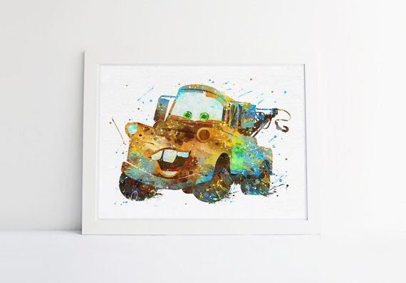 Disney Cars Mater print Watercolor Nursery Wall by ArtQuality
