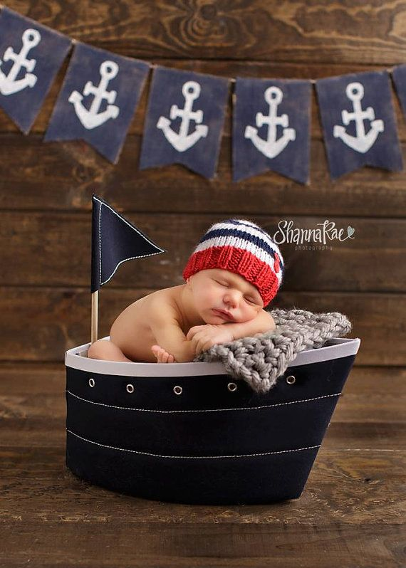 Perfect Fit Newborn Beanie with buttons nautical red by zellashop, $18.00