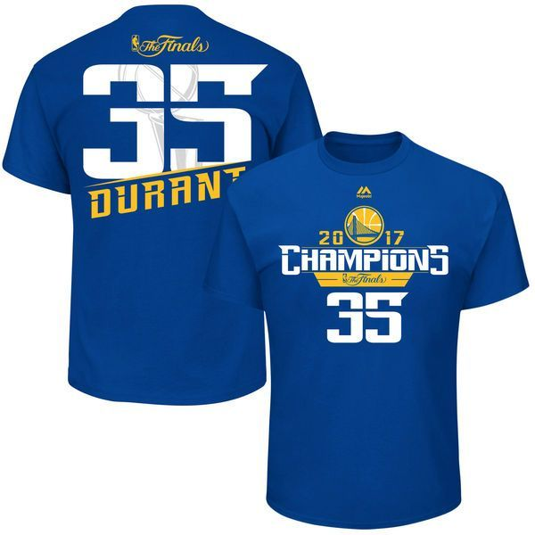 Kevin Durant Golden State Warriors Majestic 2017 NBA Finals Champions Name & Number T-Shirt - Royal