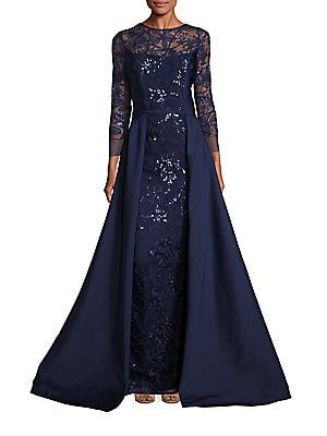 5023d02916 Teri Jon by Rickie Freeman Embellished Lace Overlay Gown
