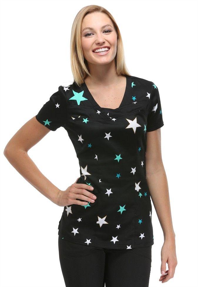 HeartSoul Superstar print scrub top. Main Image