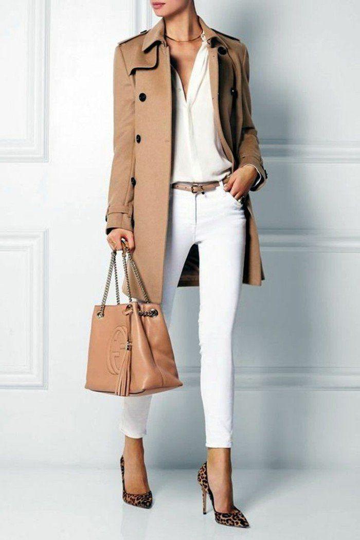 code vestimentaire au travail, veste et sac en couleur naturelle à combiner avec chaussures tigre