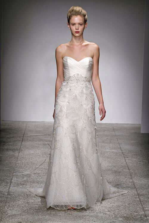 """Kenneth Pool """"Estelle"""" Hand Beaded A Line Gown with Asymmetrical Organza Bodice"""