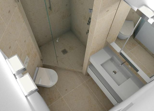Mini-Bad mit Dusche, WC und Waschplatz #badspiegelschrank © Luther Bad,  #badsp…