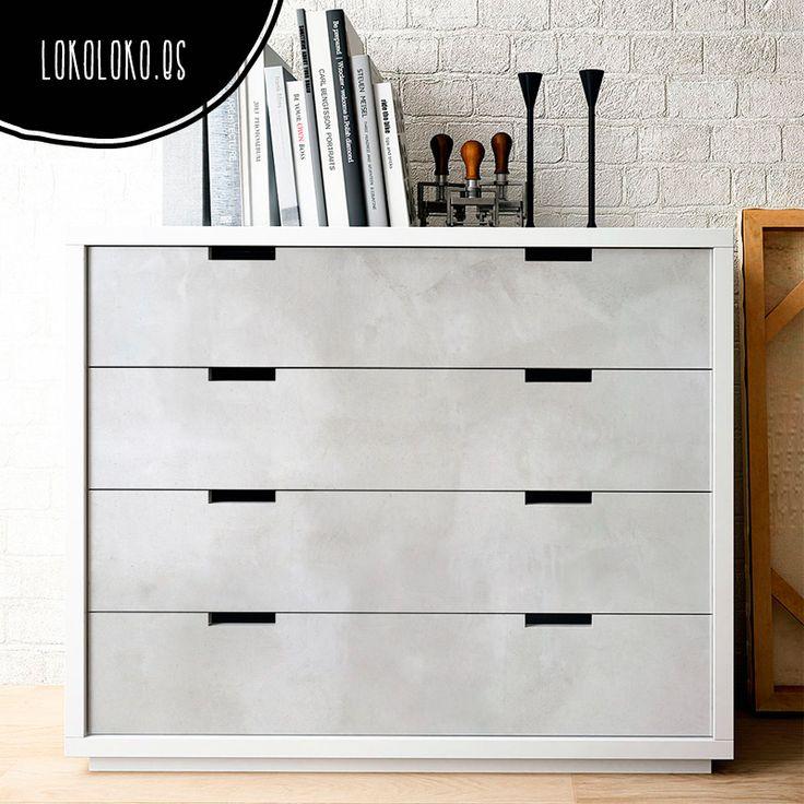 Hormigón Blanco · Vinilo para cómodas de dormitorio. Decoración elegante para el hogar / Vinyl to decorate sideboards. #lokolokodecora #vinilomuebles