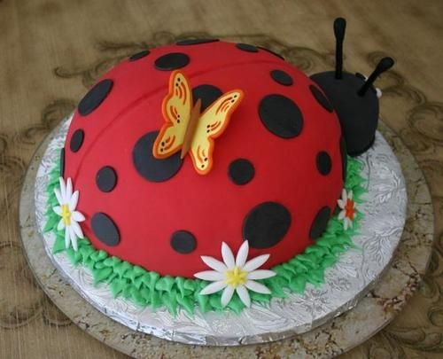 Lady bug cake with butterfly and white flowers