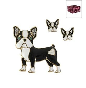 betsey johnson 174 black bulldog pin stud earring set in a