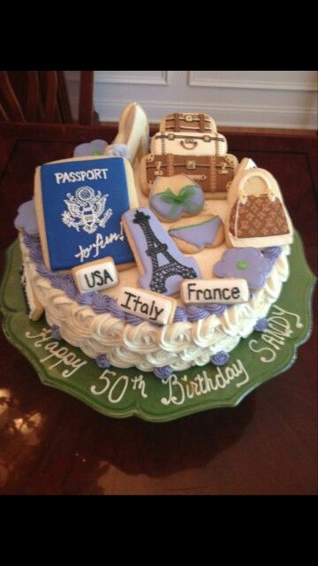 50th birthday cakes, 50th birthday and Passport on Pinterest