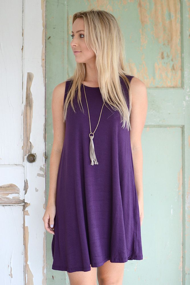 Everyday Swinging Dress- Egg Plant