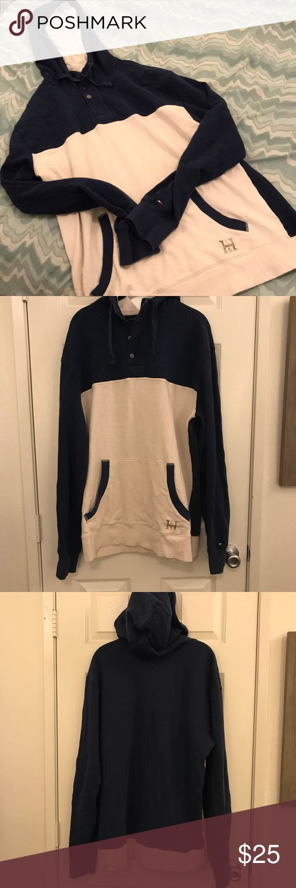 Tommy Hilfiger Men's Hoodie size XL Men's Tommy Hilfiger Hoodie. Navy and a creamy white color combo. Kangaroo pocket and patches on the elbow. Super cozy and comfortable.  Medium weight.  Size XL Tommy Hilfiger Shirts Sweatshirts & Hoodies