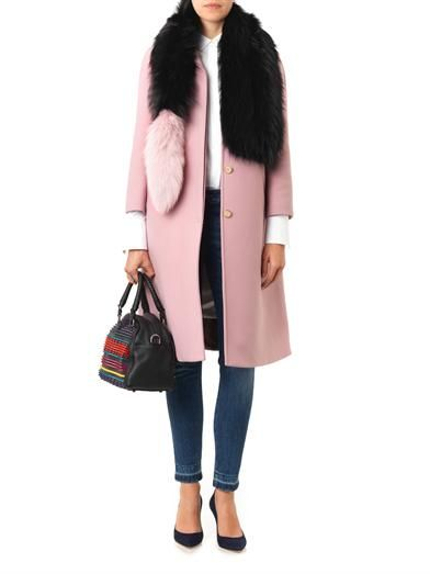 Charlotte Simone Popsicle bi-colour fur scarf - update  a classic white shirt, jeans and winter coat look