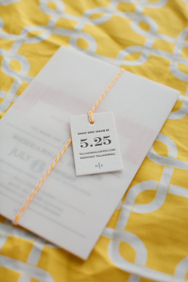 Modern invite with a pop of yellow Photography by Swoon by Katie / swoonbykatie.com