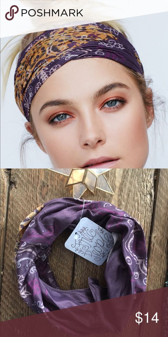 🌙Free People Printed Wideband Style: 26544528 Color Code: 053  Printed stretchy wide headband. Meant to be worn slightly scrunched together to meet your desired look.  Nylon Spandex Import Measurements for size One Size Free People Accessories Hair Accessories