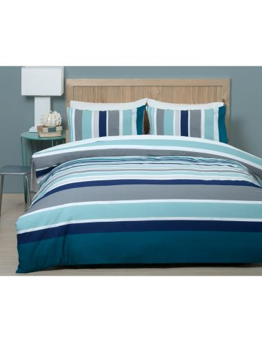 Take a journey and delve into a new world with the lush navy, sea green and smooth grey stripes of the cool and composed print thatfeatures on this duvet cover set.