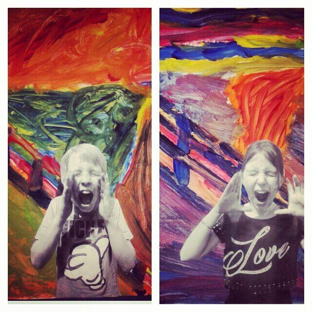 De Schreeuw. Edvard Munch Art groep 7. In de stijl van een beroemde kunstenaar.