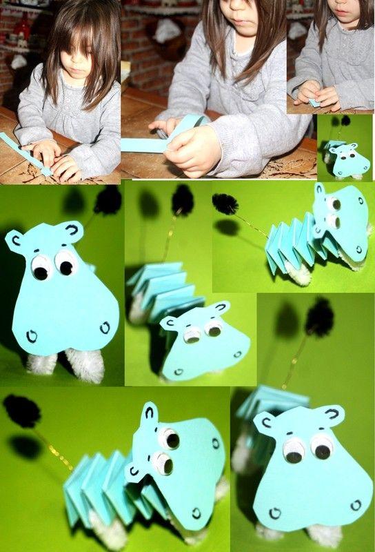 Animal Craft DIY a Wiggly Hippo•°•°•°Dieren Knutsel DIY Een Wiebelkont Nijlpaard, de oogjes Wiebelen mee.•°•° Hippopo rigolo !