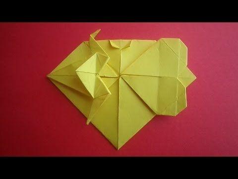 оригами сердце журавль валентинка // origami paper crane valentine heart - YouTube