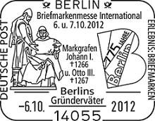 775 years Berlin: http://d-b-z.de/web/2012/10/05/775-jahre-coelln-briefmarken-messe-berlin-stempel-deutsche-post-briefmarke/