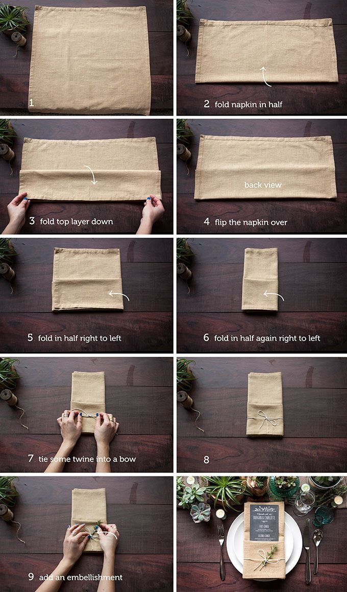Add a little extra dash of style to your wedding table with this easy step-by-step guide for folding your wedding napkins. We are so thrilled to feature these wonderful ideas thanks to our friends at Evermine where not only will you find fun ideas and details but you can also shop for wonderful items for your wedding. See more from our rustic wedding DIY section for great DIY wedding projects.   1. The Single Pocket Fold The single pocket fold is very versatile. It creates a perfect spot to…