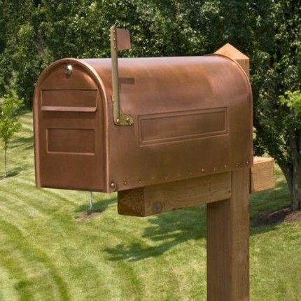 Woodward Locking Post Mount Copper Mailbox