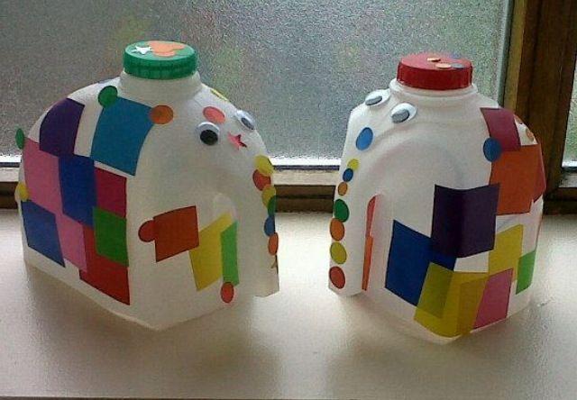 Milk bottle elephants