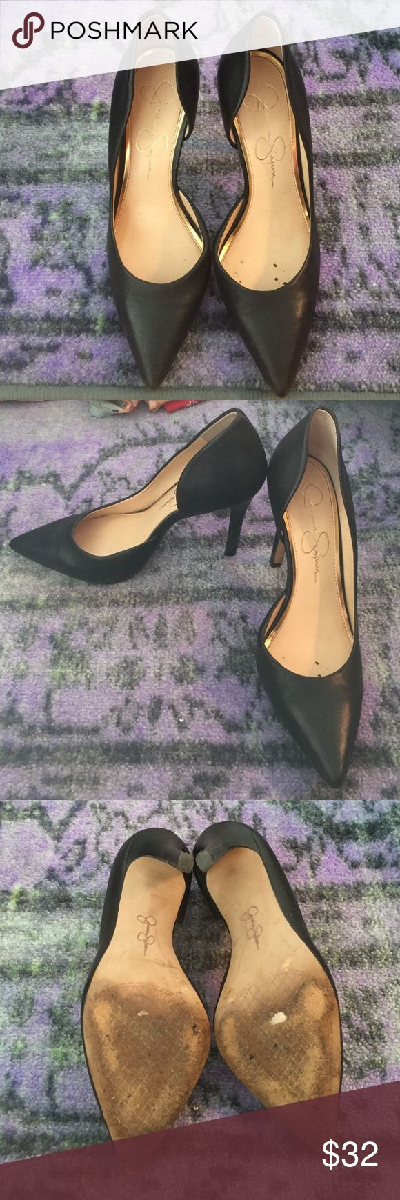 Jessica Simpson black pumps Jessica Simpson black pumps. I've worn these once-- no scuffs or defects just light ware and tear on the bottom of the shoe Jessica Simpson Shoes Heels