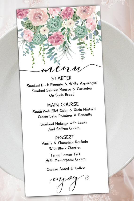 Succulents Eucalyptus Blush Dusty Rose Pink Mauve Floral Etsy Eucalyptus Wedding Invitation Pink Roses Printable Wedding Invitations
