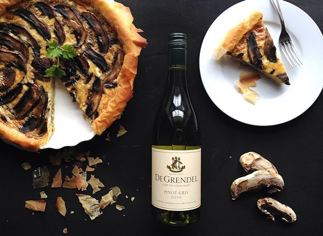 Mushroom Quiche paired with De Grendel Pinot Gris | Monnig Social Media Management | #wineandfoodwednesday