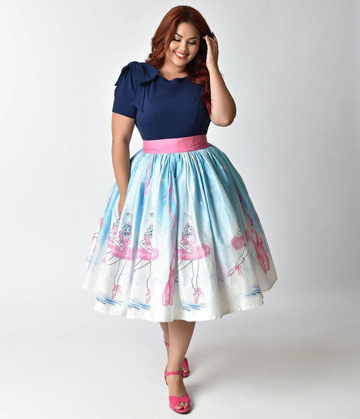 Unique Vintage Micheline Pitt For Plus Size 1950s Style Vintage Ballerina Skirt