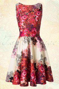 Lady Vintage Tea Dress Rose Print 103 59 14111 20150416 0005W