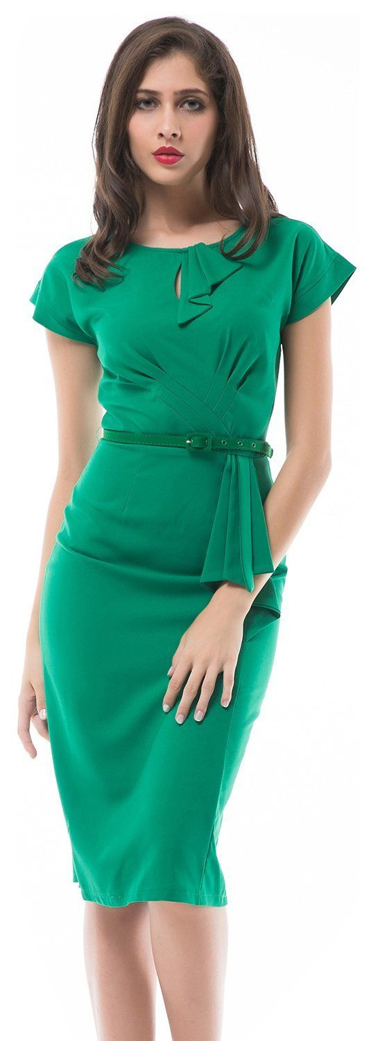 MUXXN® Women 50s Vintage Bodycon Party Dress Green with Belt at Amazon Women's Clothing store: