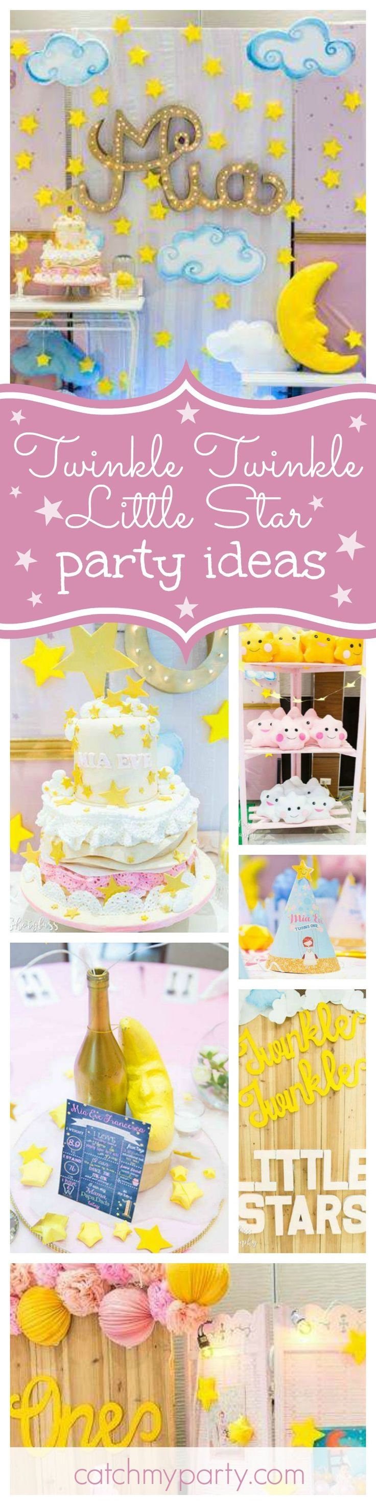 Don't miss this gorgeous Twinkle Twinkle Little Star 1st birthday Party. The birthday cake is so beautiful!! See more party ideas and share yours at CatchMyParty.com