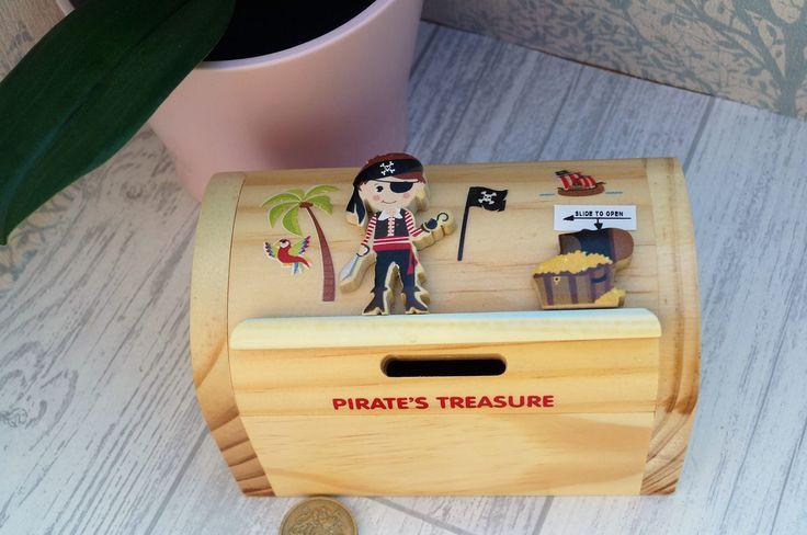 Childrens wooden money box, personalised money box, pirate money box, treasure chest money box, childrens birthday gift,  moneybox, by celebrateyourway on Etsy
