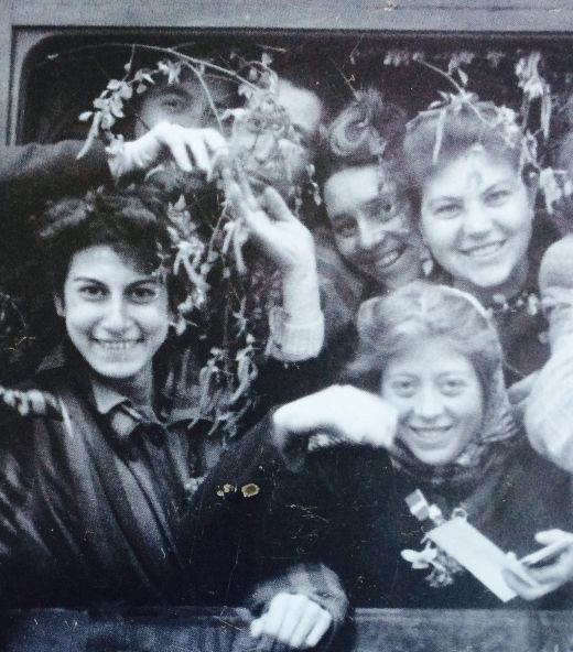 Women liberated from Ravensbruck concentration camp in Germany. Mostly Jews but also anyone who hid them.