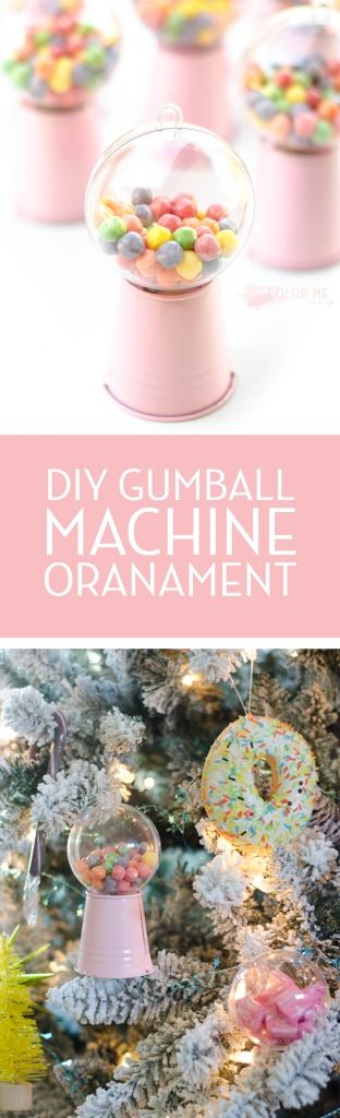 Colorful Christmas tree with candy and food and diet coke and the cutest ever DIY gumball machine ornaments!