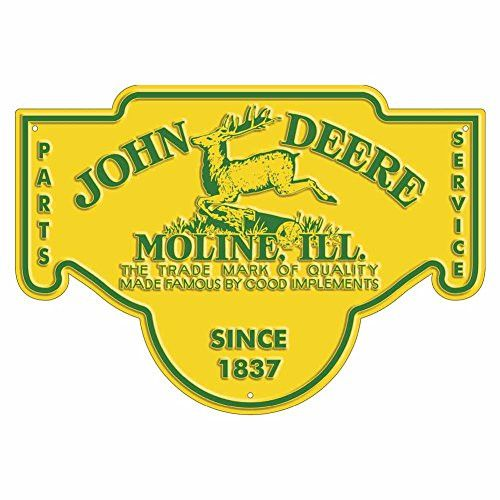 John Deere Parts & Service Embossed Metal Sign