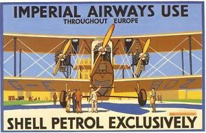 1930's Imperial Airways Shell Aviation Fuel by VintagePosterShopUK