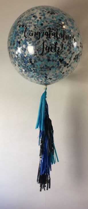 Vinyl printed 3ft balloon with confetti and tassels attached