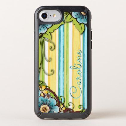 Custom Yellow Aqua Turquoise Floral Stripe Pattern Speck iPhone Case - monogram gifts unique design style monogrammed diy cyo customize