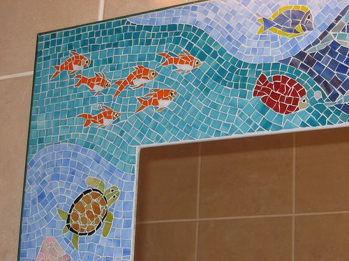 "bathroom mosaic mirror ""Sea Life"""