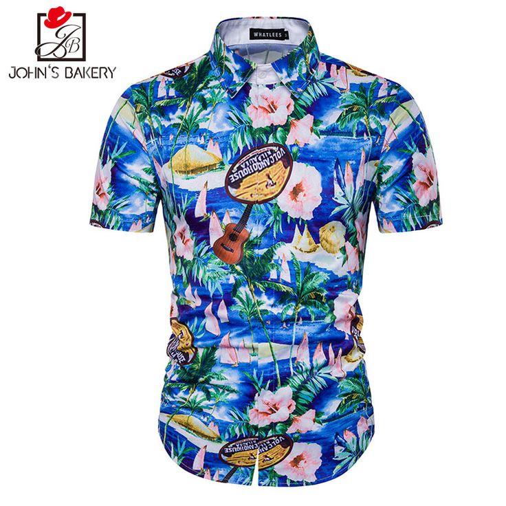 New Fashion Brand Men Shirt 3D Palm Trees Dress Shirt Short Sleeve Slim Fit Camisa Masculina Casual Male Shirts Model White 3XL #Affiliate