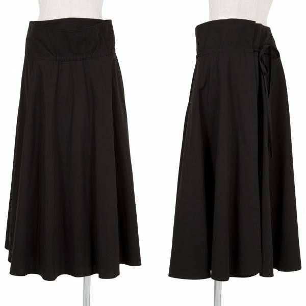 ヨウジヤマモト ノアール Yohji yamamoto NOIR コットンギャバ巻きスカート 黒1