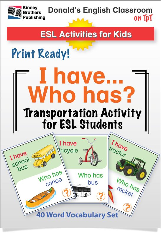 This set of Transportation I Have, Who Has Activity cards uses a base vocabulary of 40 common transportation words. There are two 25-card sets and a Transportation Chart perfect for posting in students' notebooks. #ESL #ELL #EFL