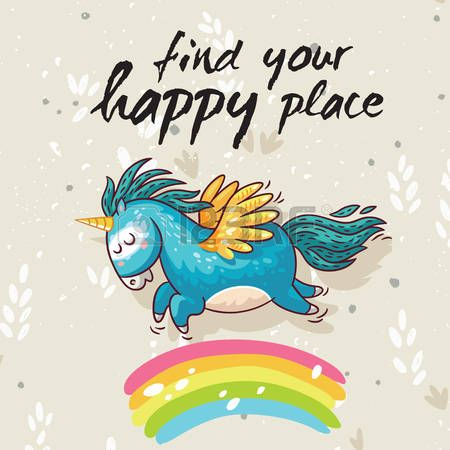 Scheda di vettore con unicorno, arcobaleno, le stelle, elementi di arredo e di…